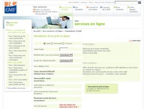 Simulation GMF CREDIT en ligne Prêt Personnel Remboursement Modulable